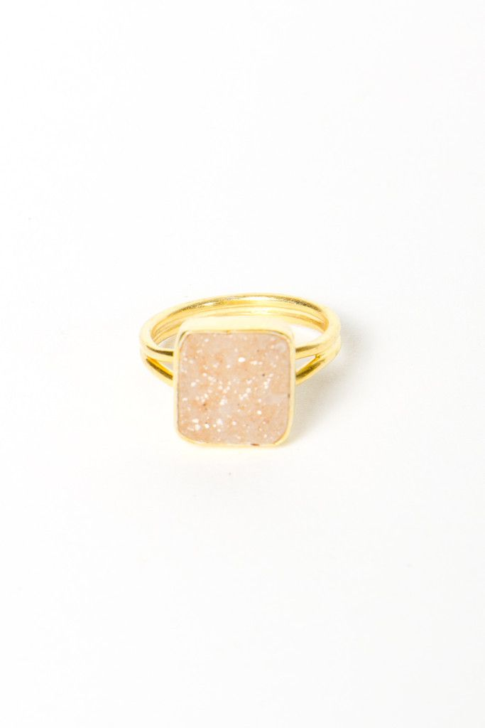 square druzy ring. Great statement ring, and goes with anything!
