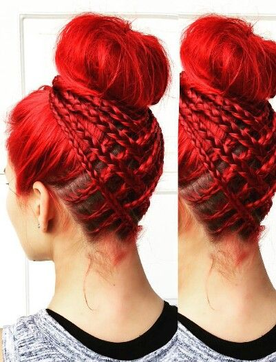 Red braided bun dyed hair updo style @jbraidsandboys