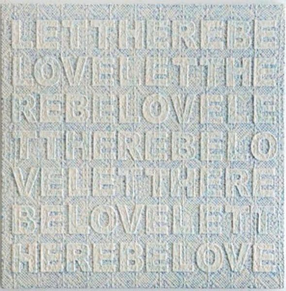 Sam Havadtoy, Let there be love, 2011, pizzo montato su tavola di legno e vernici acriliche, 100×100 cm ©Sam Havadtoy