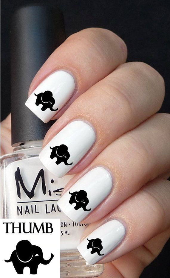 Cute Baby Elephant Nail decals by DesignerNails on Etsy
