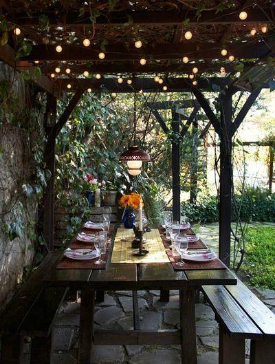 backyard: Outdoor Dining, Idea, Outdoor Living, Dream, Patio, Backyard, Outdoor Spaces, Picnic Table, Garden