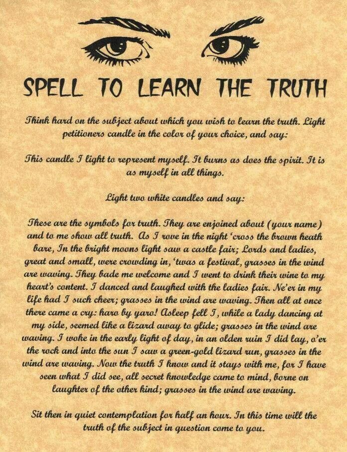 Spell to learn the truth                                                                                                                                                                                 More
