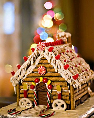 Candy Cabin With a graham cracker chimney and roof shingles made of Frosted Mini Wheats, mommyknows's log cabin seems like the perfect winter treat.