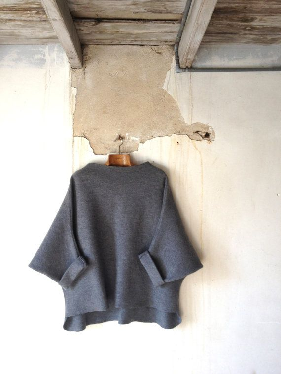 Tunic Sweater in Grey Boiled Wool Raglan Wide by byloomandhyde