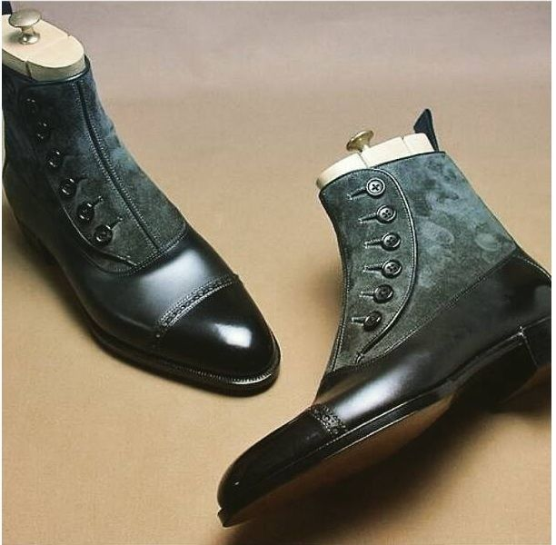 MEN HANDMADE TWO TONE FORMAL BOOTS MENS BUTTON UP CAP TOE ANKLE SHOES