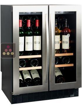 """#Cave à #vin Multi-usages de service des vins et/ou de conservation encastrable sous plan, réglable dans 2 compartiments : droit et gauche (de 5 à 18°C (± 2 °C ajustable)), de petite capacité (44 bouteilles """"Bordelaise trad."""", 30 bouteilles """"Bourgogne trad."""" ou """"Val de Loire""""). - AVINTAGE SERVICE ACI-AVI602E"""