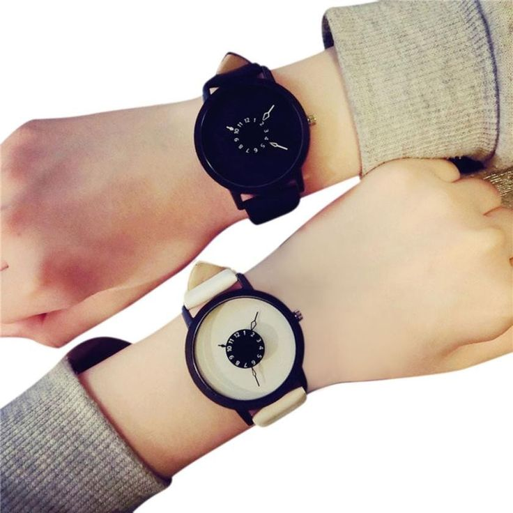 His & Hers Black or White Large Face Watches – The Slice of Love Club