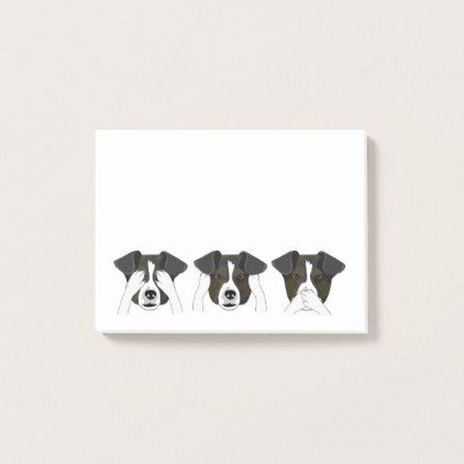 Cute Dogs Hear No Evil See No Evil Post-it Notes - dog puppy dogs doggy pup hound love pet best friend