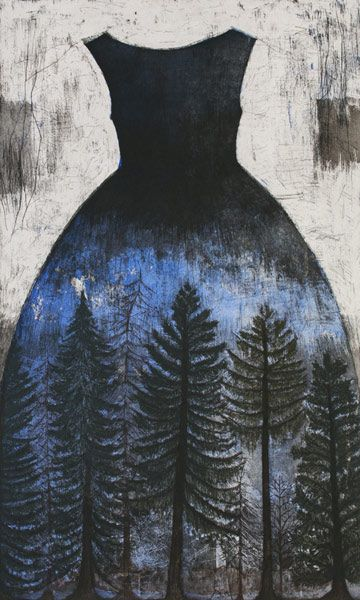 "'Spruce Forest' (2013) from the ""Big Dresses"" series by Finnish artist printmaker Kirsi Neuvonen. Line etching, aquatint, dry point, copy etching"