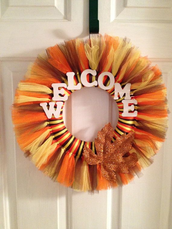 Fall or Autumn Tulle Tutu Wreath Customized