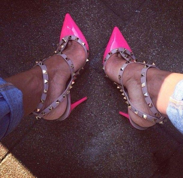 Valentino Inspired Rockstud Pink Shoes Neon Pink Heels