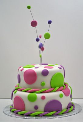 polka dot cake for Wmmick party- could put stars on sticks
