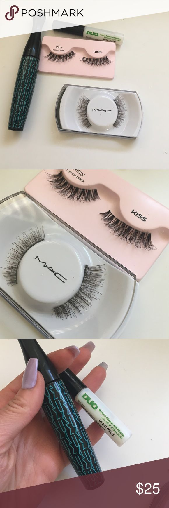 Eyelash Bundle 👁 MAC Falsies in A56 and Kiss Falsies in Ritzy. I wore both pairs once. MAC mascara in A26. And duo eyelash glue i bought from Target, lots of glue left. Good condition!! MAC Cosmetics Makeup False Eyelashes