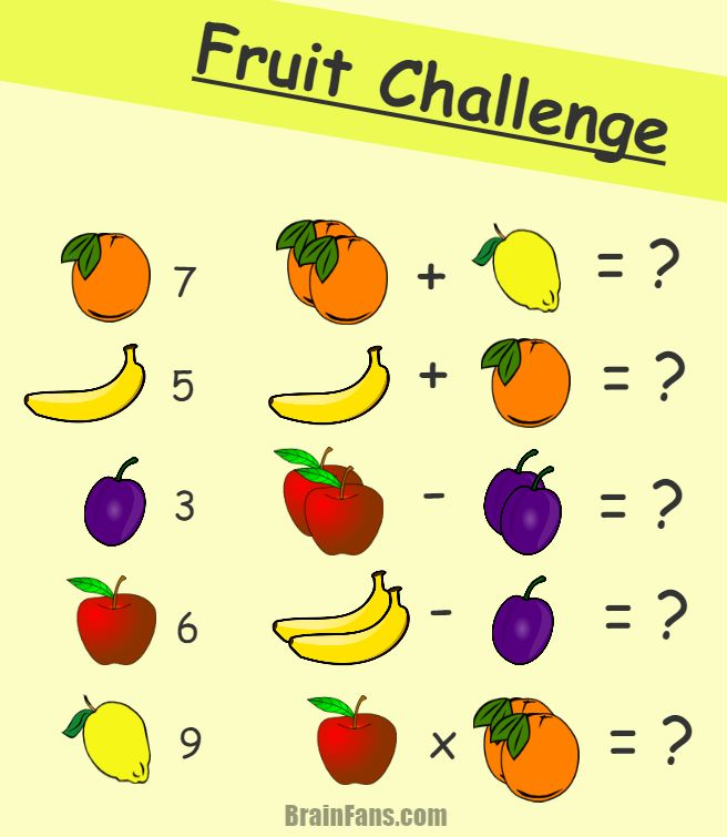 Brain teaser - Kids Riddles Logic Puzzle - fruit math challenge - You have five types of fruit, each with different number. Can you solve this math task and get the correct numbers?