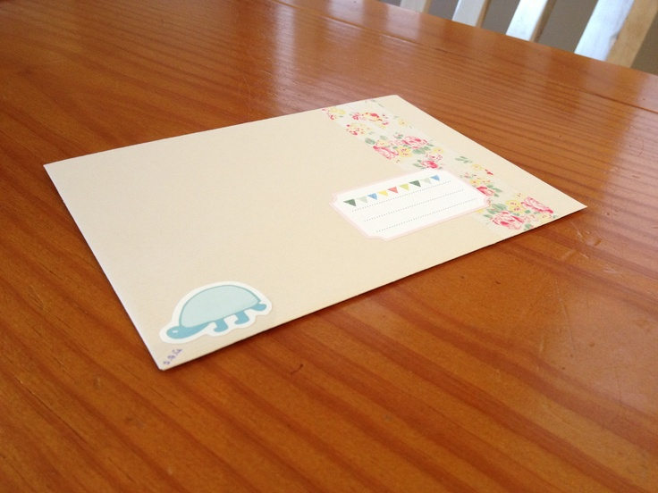 Simple plain envelope, decorated by Kiki K stickers and bits and pieces