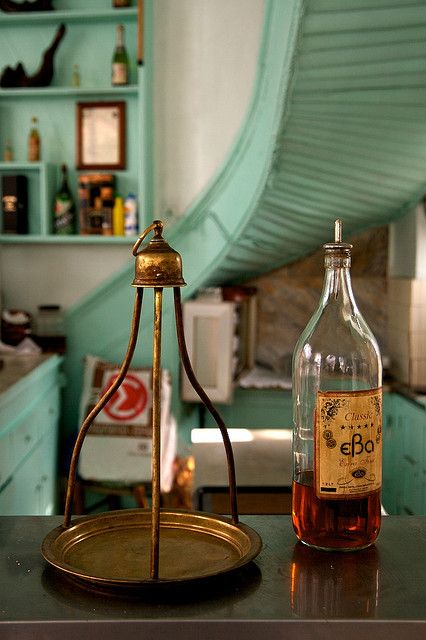 This is my Greece | Serving cognac in a traditional kafenio in Agia Paraskevi village in Mytilene