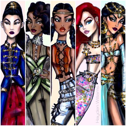 Disney Diva'Fashionistas' by Hayden Williams: Mulan, Tiana, Pocahontas, Ariel & Jasmine