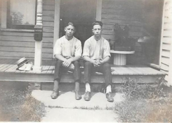 Young men on a porch
