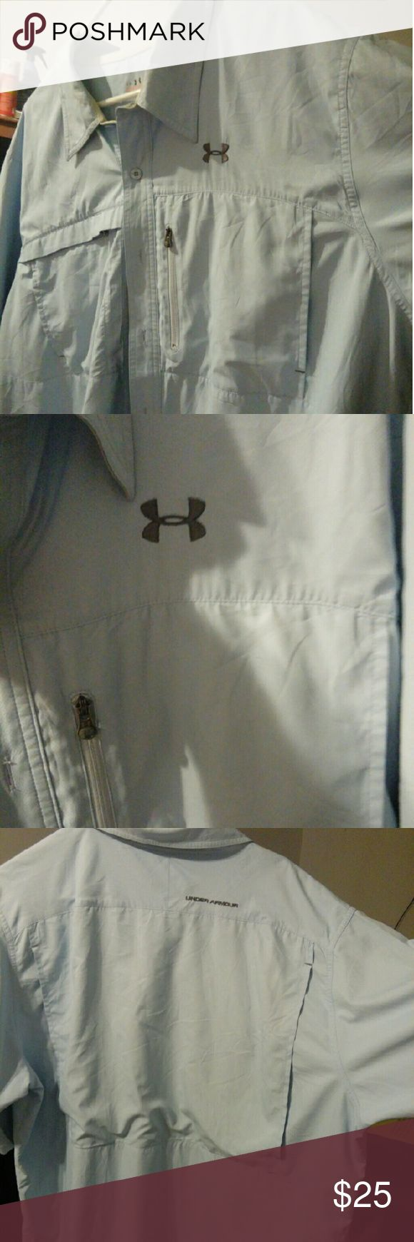 Under Armour Men's Short Sleeve Fishing Shirt Used but loved. Like new feels great in a breezy day. Under Armour Shirts Casual Button Down Shirts