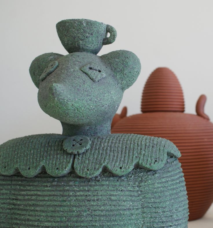 Janet Green - Miss Mouse and teapot, hand built ceramic @ Visual Culture