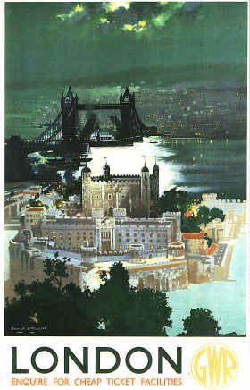 London by GWR, 1938 Railway travel Advert, Tower Bridge by moonlight,Great weston Railway,
