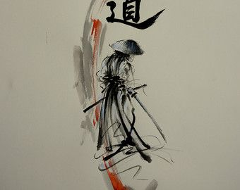 Japanese calligraphy dragon. Original sumi-e ink by SamuraiArt