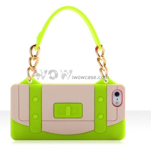 Fashionable Apple iPhone 5 Silicone Case. Fashionable Apple iPhone 5 Silicone Case Cover Pouch with Handbag Wallet Bag Style Green and tan. Brand new. I style Accessories Phone Cases