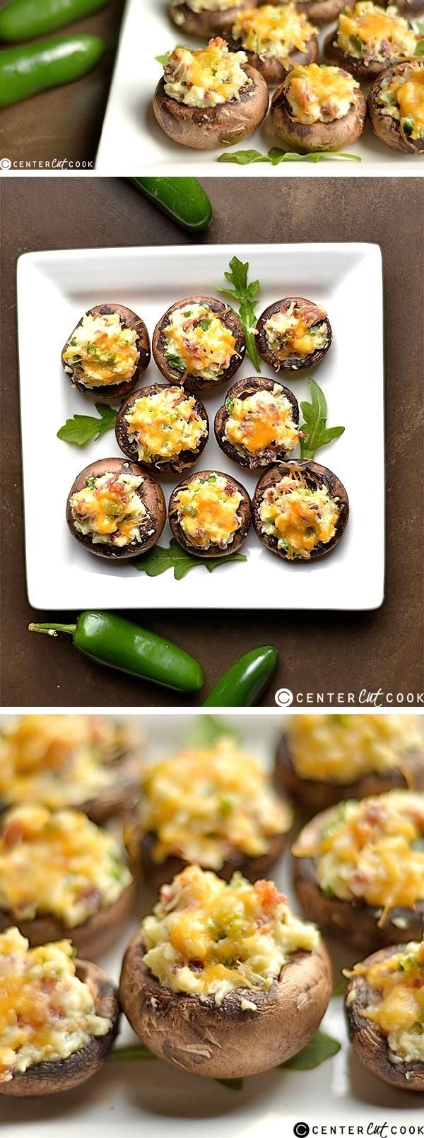All of the yumminess of a JALAPEñO POPPER STUFFED inside a mushroom! Super easy and delicious appetizer that is sure to be a crowd pleaser!