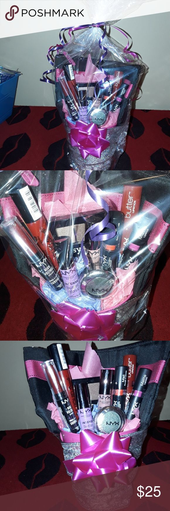 NEW Nyx cosmetic gift bucket ALL BRAND NEW NYX MAKEUP & A PINK SND BLACK MAKEUP BAG TO GO WITH, IT COMES WITH THE PINK BUCKET TOO. PERFECT FOR A GIFT IDEA!  Items you recieve.. 1 pink tin/bucket $1 1 pink and black makeup bag $6 1 ipsy nyx 3 color eyeshadow palette $7 1 single color nyx eyeshadow $5 2 nyx intense buttergloss $13 2 nyx matte lipstick $14 1 nyx high voltage lipstick $7 1 nyx butter lipstick $3.30 1 nyx liquid suede cream lipstick$7 Supplies used to make this $12 RETAIL $ 75…