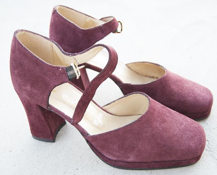 70 tal Vintage platå skor plommon äkta mocka raritet! 37 på Tradera.