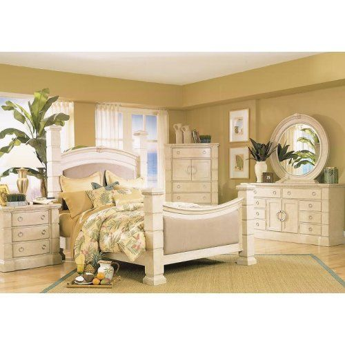 White Wash Poster 5 Pc Queen Bedroom   Furniture