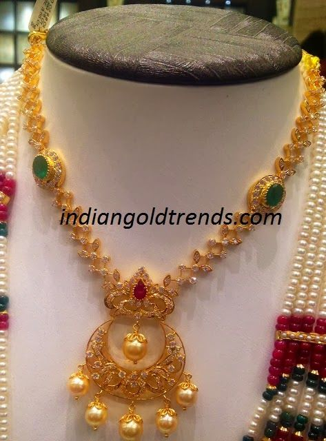 Latest Indian Gold and Diamond Jewellery Designs: 36gms CZ Necklace with Chandbali Pendant