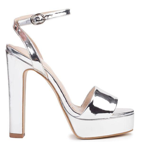 Silver metallic high-heel sandal with