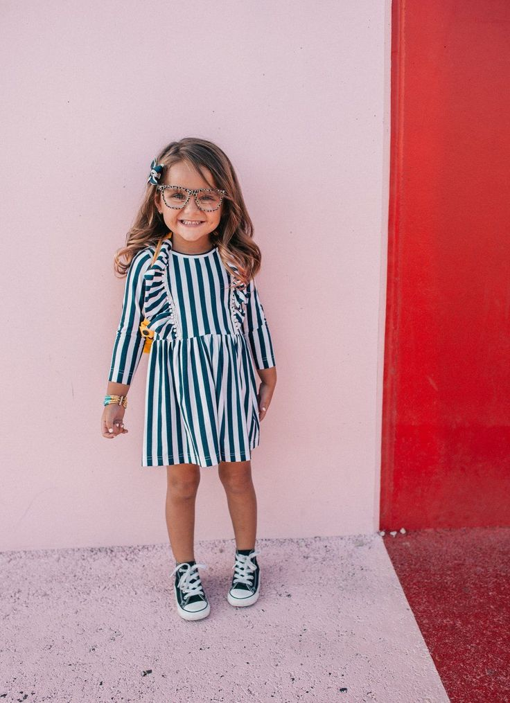 Lola Dress from cuteheads. Navy and white striped girls dressd for Fall 2017. Shop Thanksgiving and Christmas dresses for girls from cuteheads.com #parentstipsforgirls