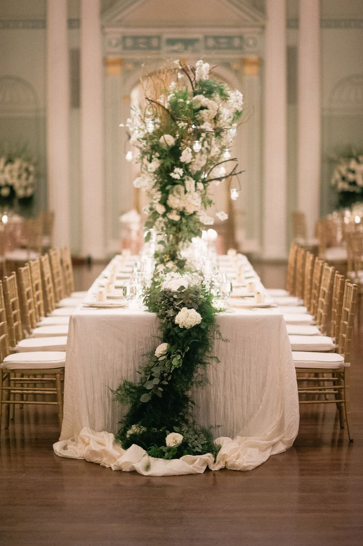 i like the fuzzy grennery on this table ---View entire slideshow: Cascading Centerpieces on http://www.stylemepretty.com/collection/1511/