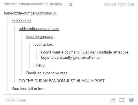 I think this the first time I've seen the Ouran fandom hijack anything...