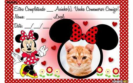 Moldura6688 Convite Minnie Vermelha