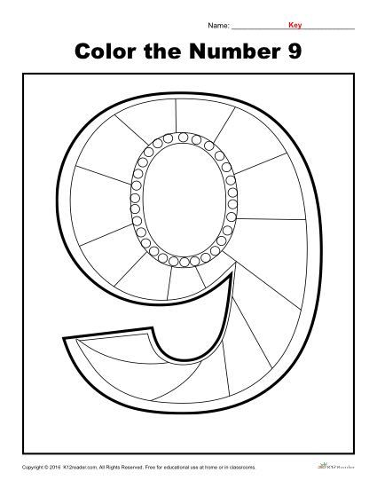 Color the Number 9   Preschool Number Worksheet - With this 'Color the Numbers' activity, students will practice recognizing the number nine.