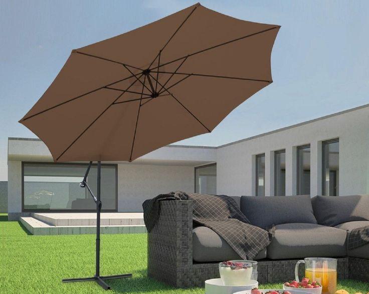 3.5m Cantilever Parasol with Hand Crank Garden Umbrella Sun Shade Brown UK