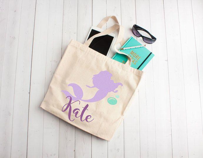 mermaid tote bag mermaid party personalized mermaid bag custom