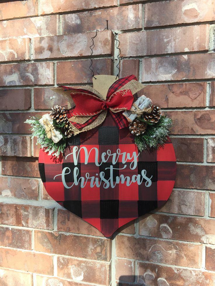 SHIPS NOW! Christmas Door Hanger, Buffalo Plaid Christmas, Ornament Door Hanger, Christmas Wreath, Christmas Decor, Country Chrismas Decor by CrazyArtTeacherLady on Etsy
