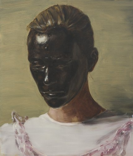 "particolare ""The Angel"" 2013 olio su tela (300x200) Michael Borremans  (Geraardsbergen, Belgio 1963)"