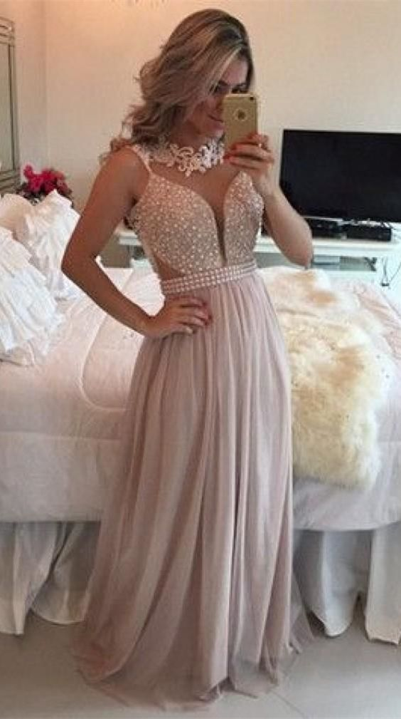 elegant pink tulle prom dress with pearls, fashion illusion a-line party dress with appliques