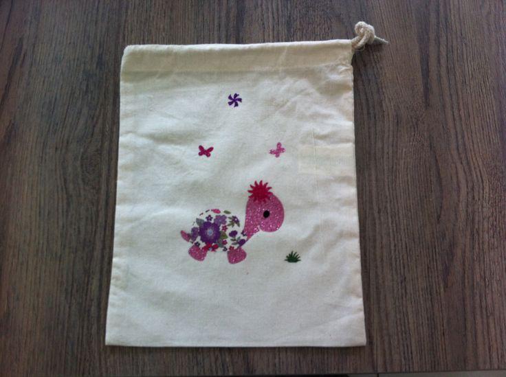sac à doudou en coton pour fille , tortue rose liberty et paillette : Sacs enfants par nessymatriochka