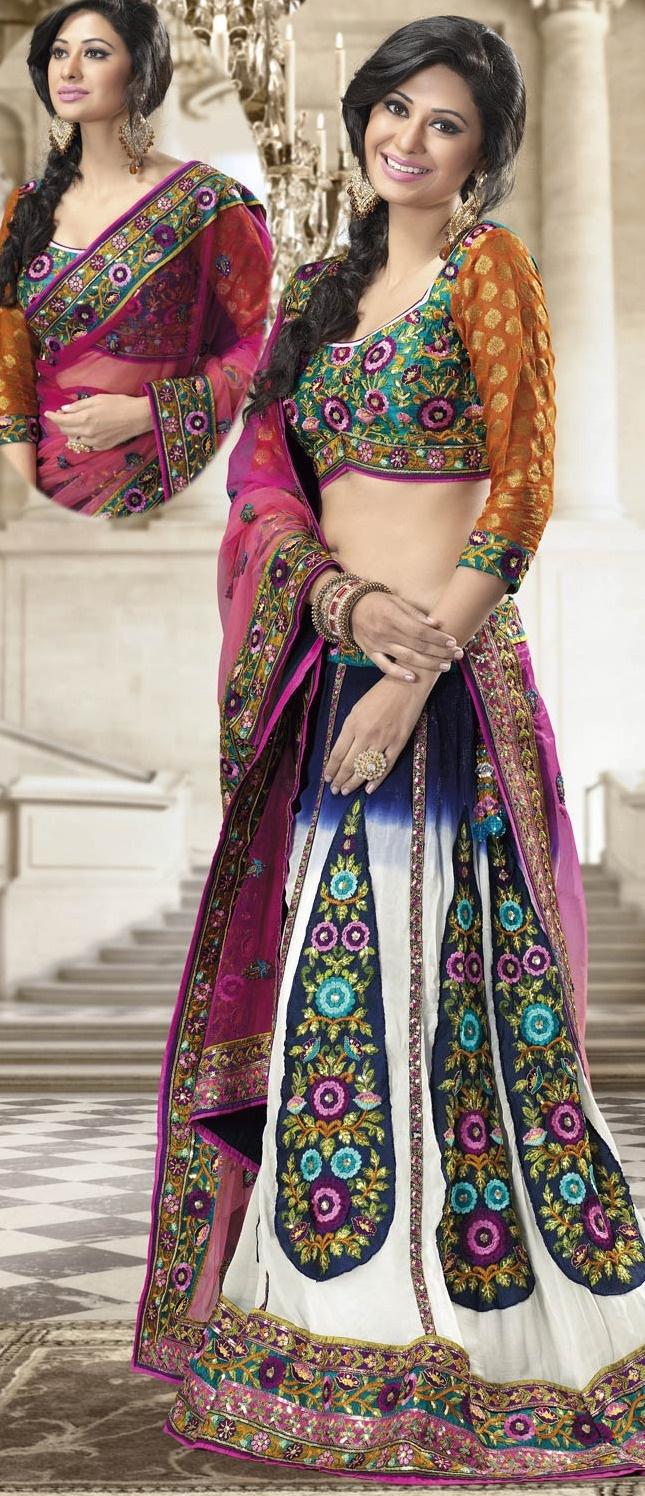 Multicolor Faux #Georgette A-line #Lehenga Choli with #Dupatta @ $194.35