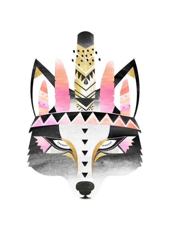 Indian Boho Wolf print. Watercolour / Digital by HelloPants