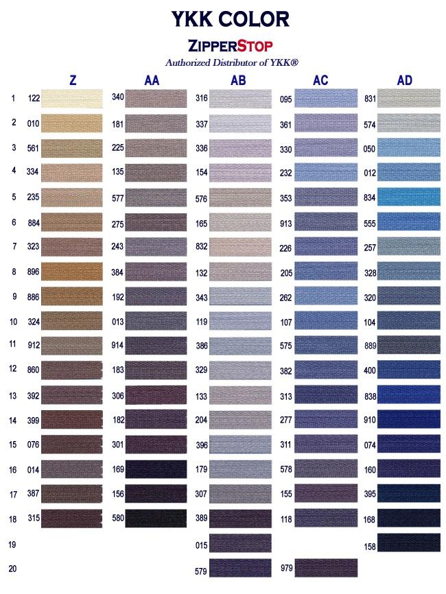 Ykk Colors Page 6 Color Palette Color Chart Color