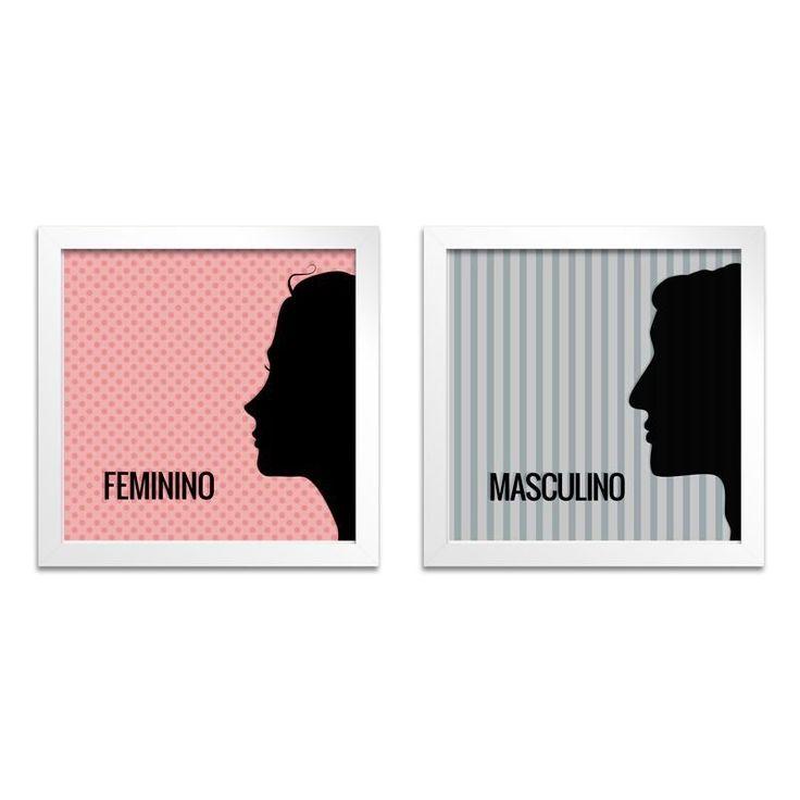 O Quadro para Banheiro – Feminino e Masculino em estilo moderno é ideal para a sinalização de estabelecimentos comerciais como lojas, bares e restaurantes.