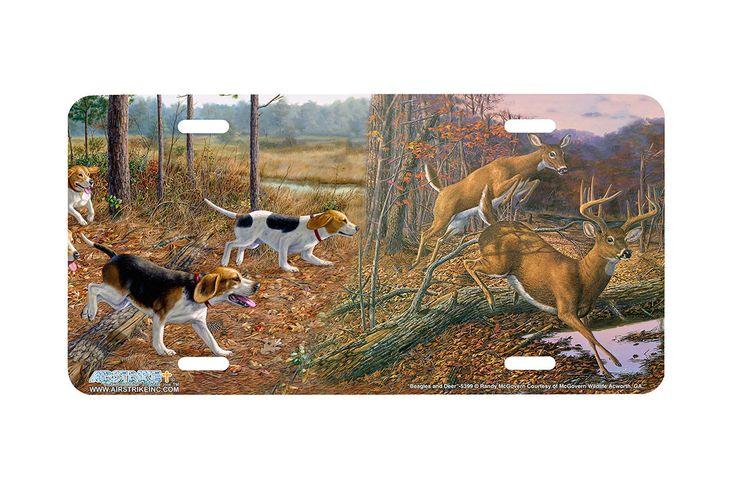 "Airstrike® 5399-""Beagles and Deer"" Beagle Hunting License Plate"