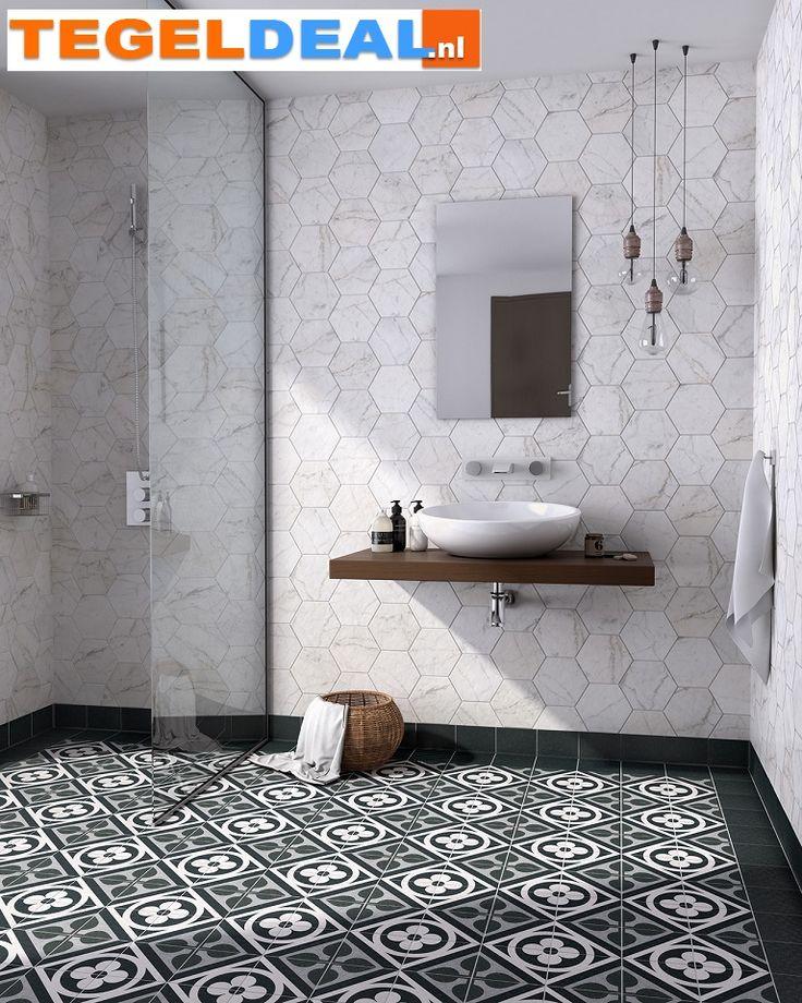 Tegels Limburg - Vloertegel / wandtegel Carrara Hexagon, 17,5 x 20 cm, witte marmer look - Tegeldeal.nl